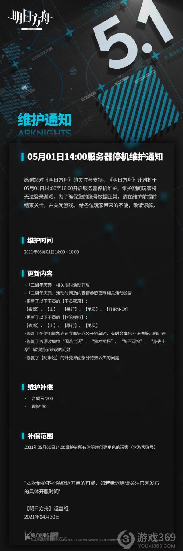 明日方舟5月1日14:00停机更新介绍
