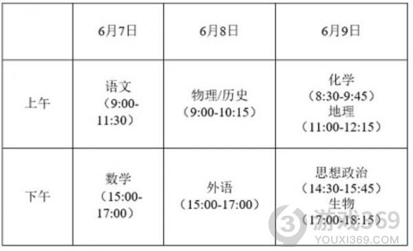 江苏2021高考时间及科目安排表