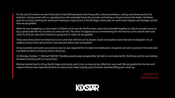 知名R6主播KiXSTAr去世 年仅24岁